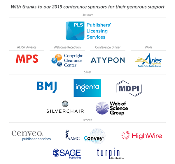 ALPSP Conference Sponsors Aug19